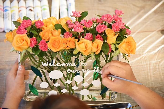 最後に水彩筆で「Welcome to our wedding」とメッセージを描いたら完成です。
