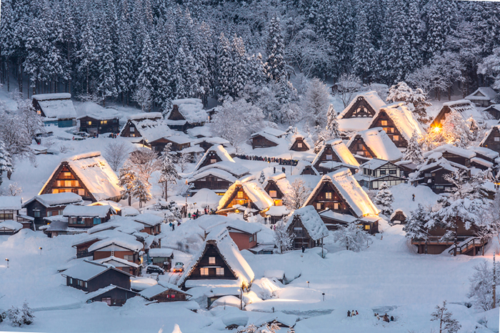 Shirakawago light-up with Snowfall Gifu Chubu Japan