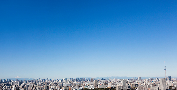 Tokyo Panorama on the day of the fine weather.Mount Fuji on the left side. Tokyo Sky Tree Tower on the right side.