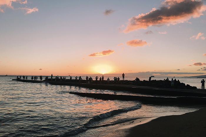 ハワイ hawaii ワイキキビーチ sunset 夕日