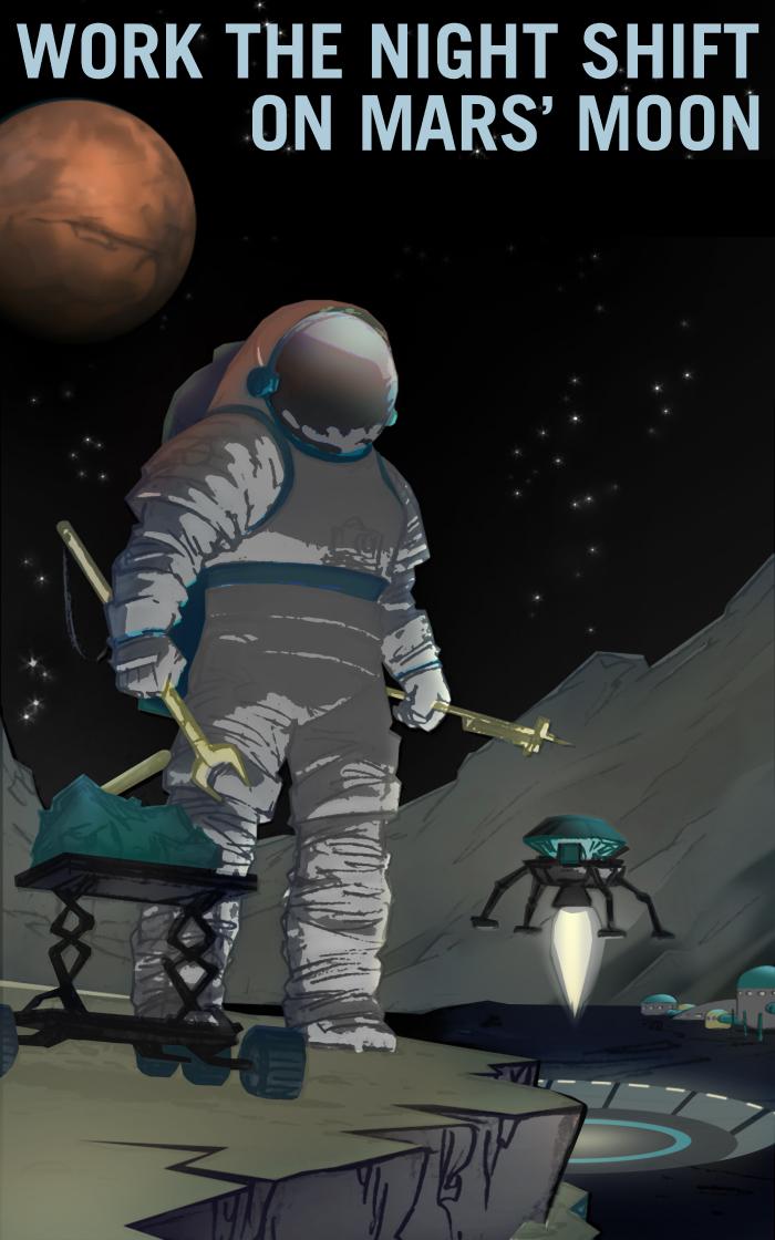 火星の月で夜間勤務しよう