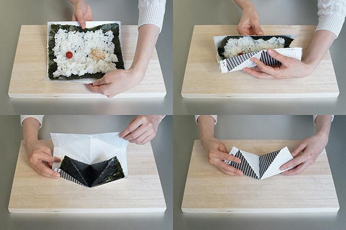 折り紙を折るようにおにぎりが作れるペーパークラフト「オリニギリ」