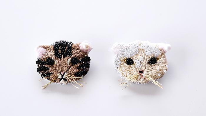 塗り絵のように刺繍出来る!CotohaさんデザインのApollon「ネコブローチキット」