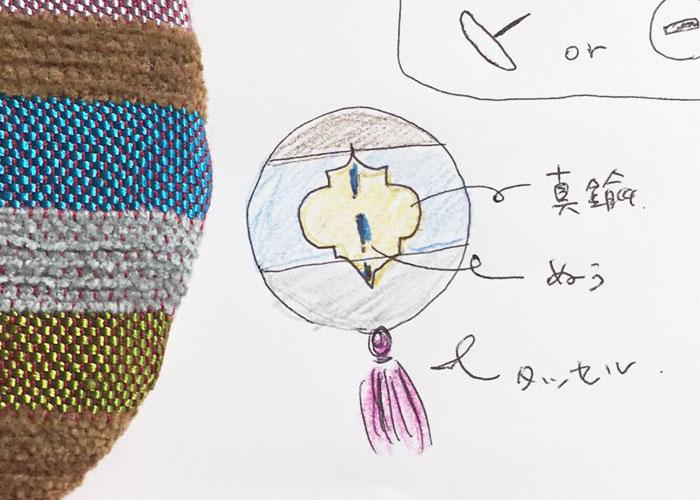 そして知子さんからの提案のデザインがこちら。オリジナルデザインの真鍮パーツとタッセルをつけることに…。