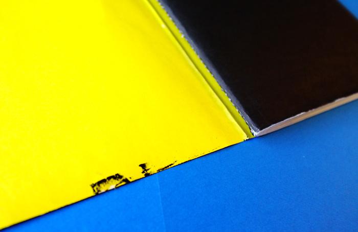 シルクスクリーンかもしれないと、気づいたのは、このカバーの裏側にインクがついていたことがきっかけでした。