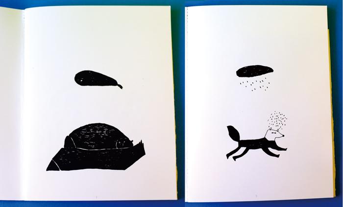 (左)寝ている熊、(右)雨に出会うきつねのイラスト。