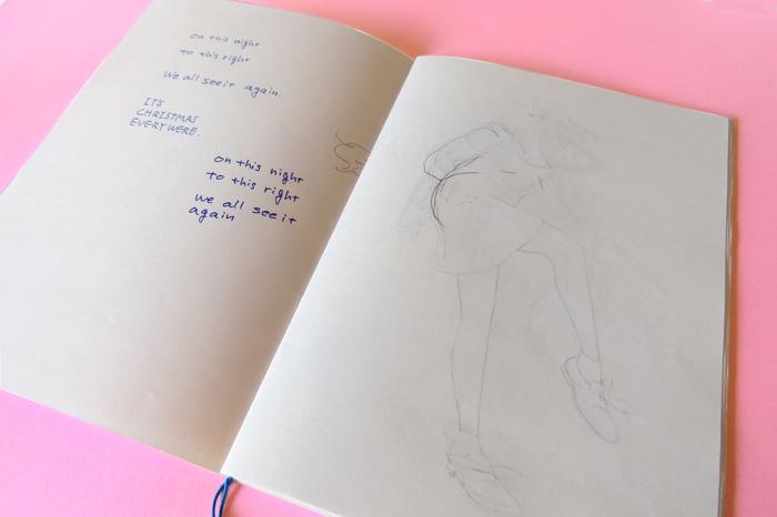 開いたそのページにはペンと鉛筆で描かれた、文字と絵。