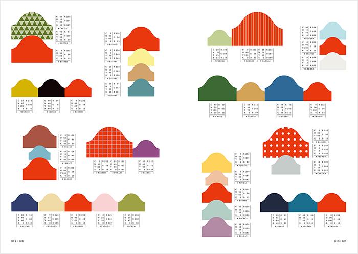 配色サンプルの形は、四角ではなく、イメージごとに違う形・面積比で掲載されているので、テキスタイルなどのパターンとしても利用することが可能です。