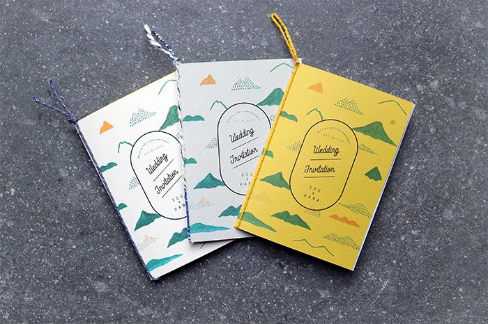 同じデザインでも用紙を変更し、紐でまとめると、グッと雰囲気がよくなります。