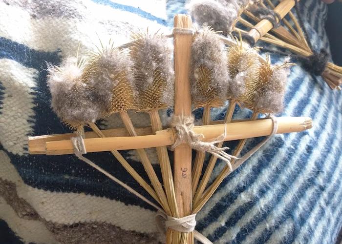 尋ねてみると''Cardo Santo''という植物の種の実を乾燥させたもので、毛織物の毛並みをブラッシングして柔らかくするために使うのだと教えてくれました。