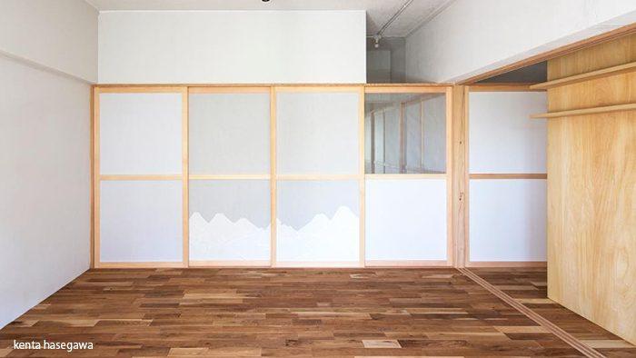 襖の軽やかさと障子の透過性を持ち合わせた新しい仕切り「布框戸(ぬのかまちど)」