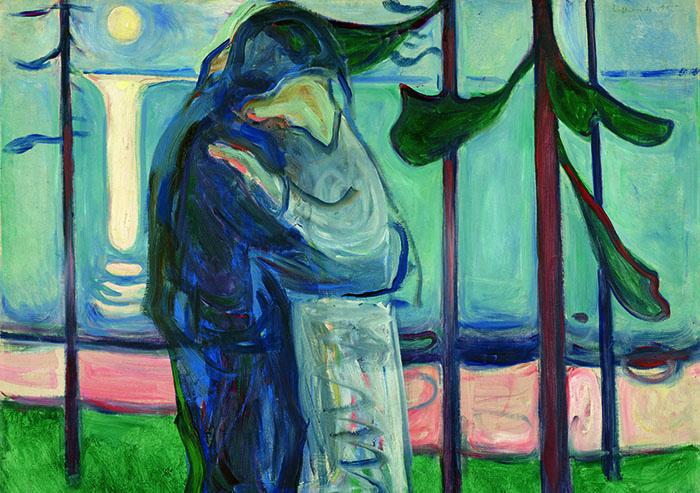 エドヴァルド・ムンク《月明かり、浜辺の接吻》1914年