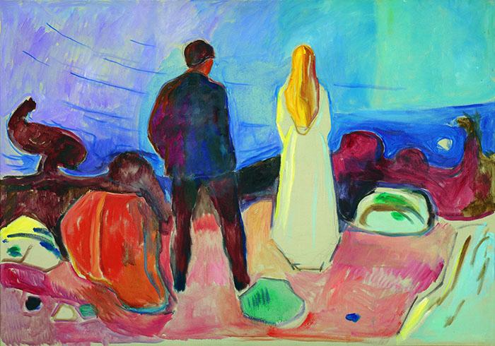 エドヴァルド・ムンク《二人、孤独な人たち》1933-35年