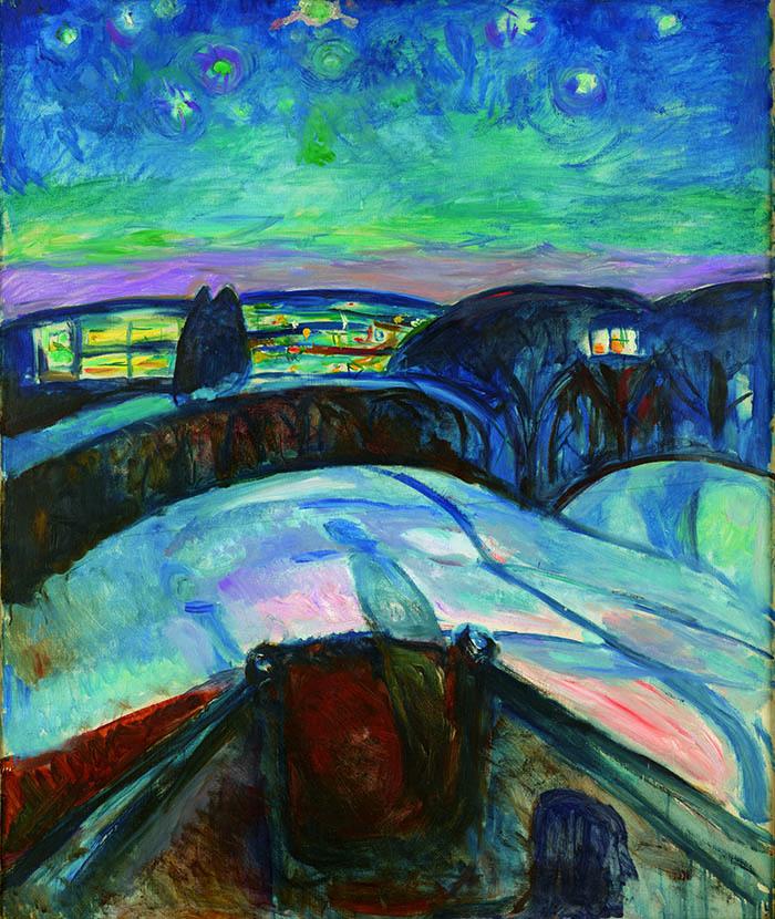 エドヴァルド・ムンク《星月夜》1922-24年