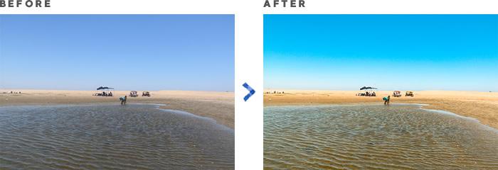 砂漠 … 青みと赤みを押さえ、黄色と緑をプラスして鮮やかになるよう補正。