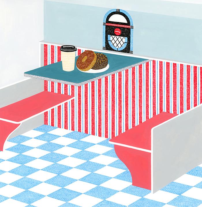 NHK出版「きょうの料理ビギナーズ」2018年4月号 柚木麻子氏エッセイ連載「とりあえずお湯わかせ」挿絵
