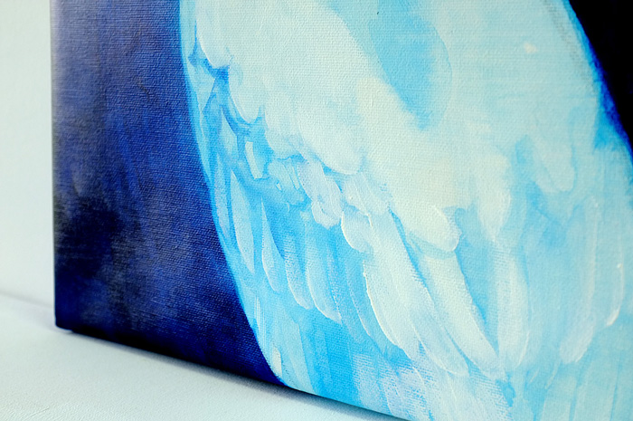 とっても美しい白鷺の絵。白い筆の筆圧も、鷺の羽の感じもリアルに感じます。
