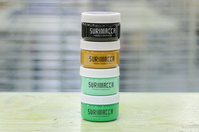 今回選んだインクは、SURIMACCAインク(水性)のブラック、パン、TOKYO、グリーンの4色です。