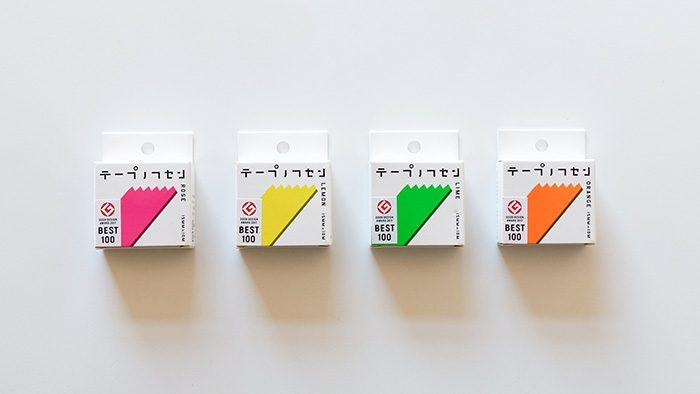 シンプルなかたちと鮮やかなカラーリングが素敵!フセンテープとカッターが一体化した「テープノフセン」