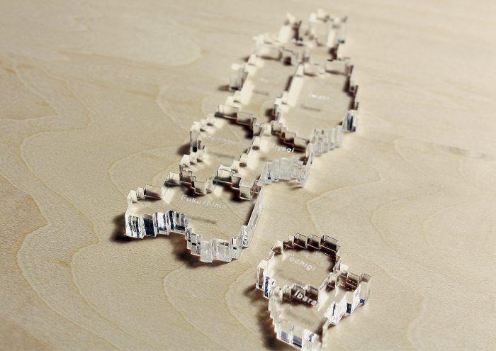 アクリル好きにはたまらない、日本地図パズル「pixel map」