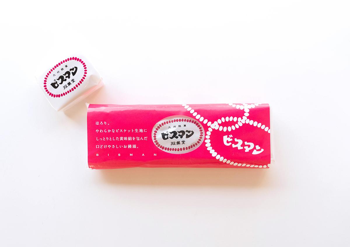 ピンクの包装紙がレトロかわいい!大分・殿畑双葉堂のビスケット饅頭「ビスマン」