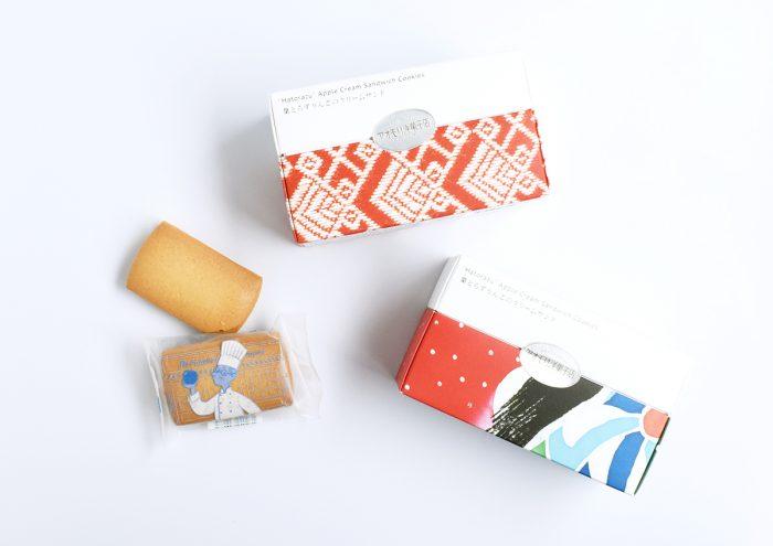 """""""こぎん刺し""""や""""ねぶた""""をデザインしたパッケージがかわいい!青森・アオモリ洋菓子店の「葉とらずりんごのクリームサンド」"""