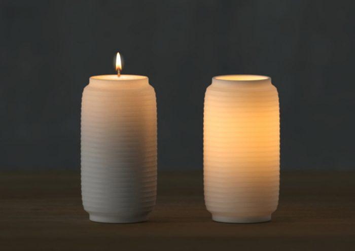 時間の経過で表情が変わる。ミニマルなデザインがおしゃれな提灯型のキャンドル「Chouchin Candle」