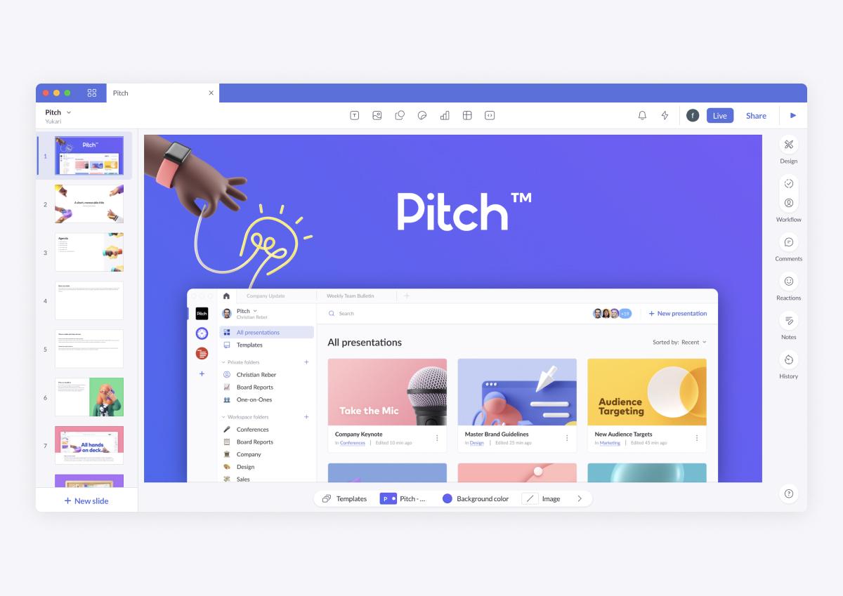 デザイン性の高いプレゼン資料が無料で作れるサービス「Pitch」