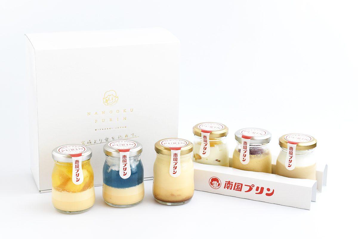 季節のフルーツや果汁がつくる彩り豊かなフレーバーと昭和レトロなロゴに注目。宮崎の「南国プリン」